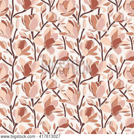 Magnolia Flowers, Seamless Pattern. Trendy Minimal Style, Branches With Blooming Buds. Modern Floral