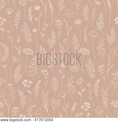 Wildflowers, Floral Vector Illustration, Seamless Pattern. Modern Print In Thin Line, Trendy Style D