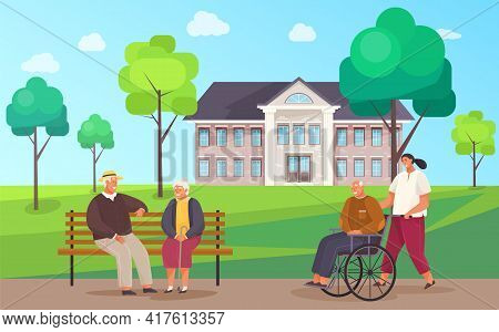 Nursing Home. Elderly People Walk Outdoors In Good Weather Near Building, Care For Retirees