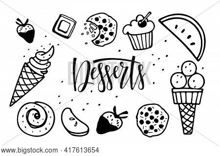Desserts Frame. Frame With Different Kinds Of Desserts. Ice Cream, Pastries, Fruits, Sweetness. Call