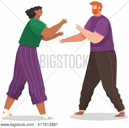 Young Couple Quarreling. Man And Woman Shout At Each Other In Bad Relationship. Arguing Reprimanding