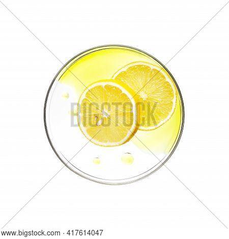 Sliced Lemon With Essence On Petri Dish Over White Background