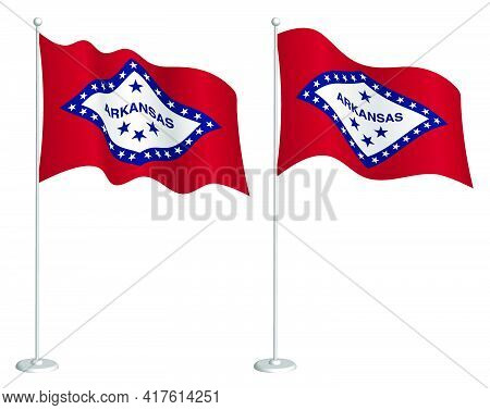 Flag Of American State Of Arkansas On Flagpole Waving In Wind. Holiday Design Element. Checkpoint Fo