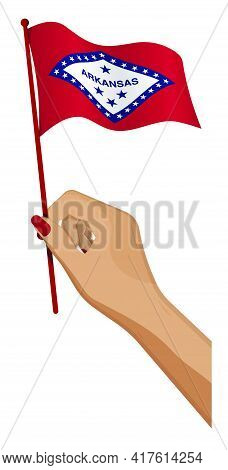 Female Hand Gently Holds Small Flag Of American State Of Arkansas. Holiday Design Element. Cartoon V