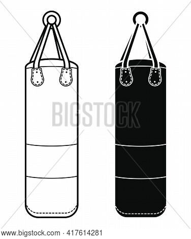 Big Punching Bag For Sports Training. Training Boxers In Gym. Black And White Vector