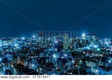 5g. Media Link Connecting On Night City Background, Digital, Internet, Communication, Cyber Tech, Sp