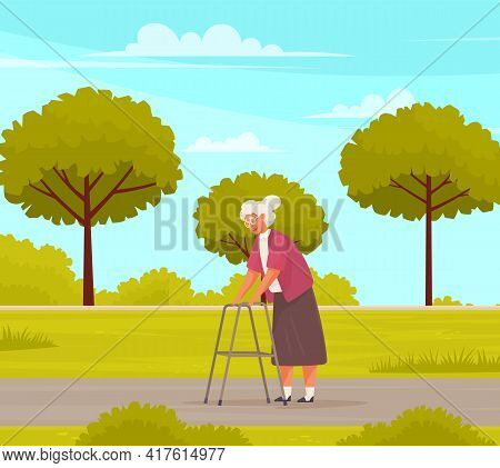 Granny With Glasses Walks With Adult Walker In Park. Grandmother Spends Time In Nursing Home