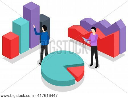 Men Study Statistics Shown On Charts. Colleagues Are Working With Data. People Analyze Metrics