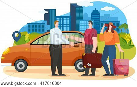 Man And Woman Talking To Landlord. Couple Searching Adventures Rents Automobile For Traveling