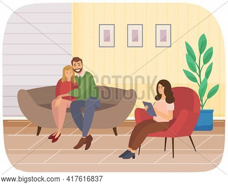 Happy Couple Of People Sitting On Couch Hugging. Doctor Gives Advice On Family Psychology