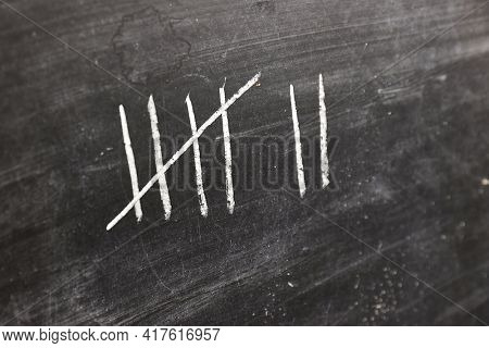 Counting tally marks with chalk, groups of five strikes