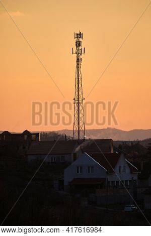 Communication transmitter tower on the hill top