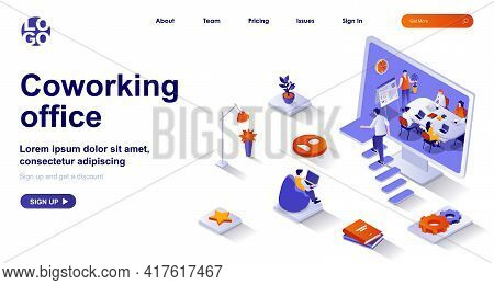Coworking Office Isometric Landing Page. Colleagues Work In Open Space Isometry Concept. Company Emp