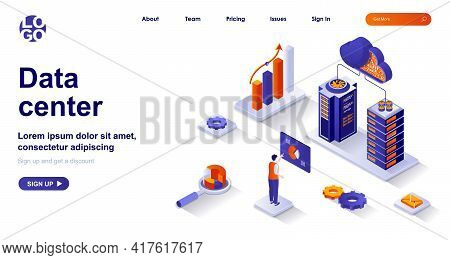 Data Center Isometric Landing Page. Operation Engineer Works In Server Racks Room Isometry Concept.