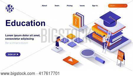 Education Isometric Landing Page. Studying At School Or University Isometry Concept. Learning, Train