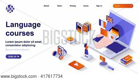 Language Courses Isometric Landing Page. Studying At Language School Isometry Concept. Online Educat
