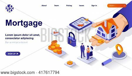Mortgage Isometric Landing Page. Bank Loan For Home Purchase Isometry Concept. Estate Agent Selling