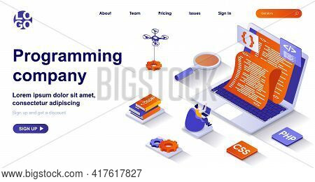 Programming Company Isometric Landing Page. Development Of Programs And App Isometry Concept. Progra