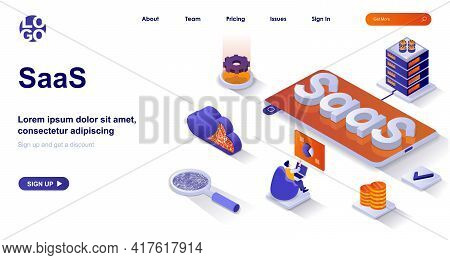 Saas Isometric Landing Page. Cloud Technologies, Customer Subscription Business Model Isometry Conce