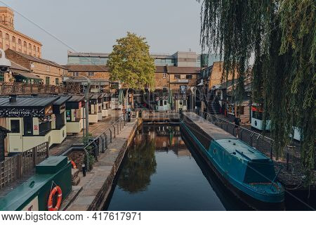 London, Uk - August 12, 2020: High Angle View Of Closed Stalls In Empty Camden Market. Started With