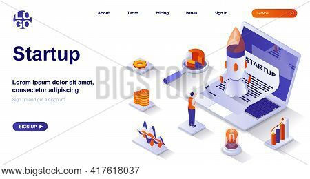 Startup Isometric Landing Page. Launching New Business Project Isometry Concept. Development Strateg