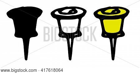 Doodle Push Pin Yellow In Doodle Style On Yellow Background. White Color Background.vector Set Of St