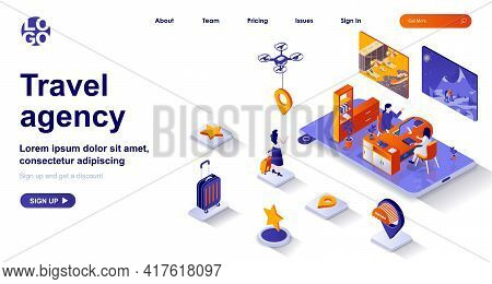 Travel Agency Isometric Landing Page. Operator Helps Client To Choose Vacation Tour Isometry Concept