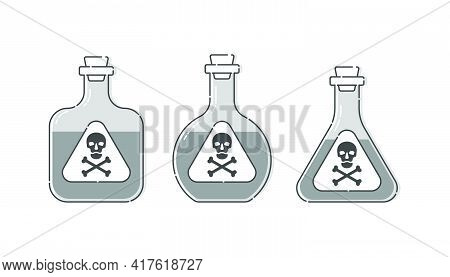 Three Form Bottle Poison With Skull Full Face For Concept Design. Dangerous Container. Potion Bevera