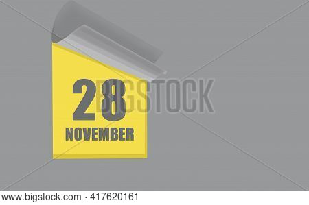 November 28. 28-th Day Of The Month, Calendar Date. Gray Numbers In A Yellow Window, On A Solid Isol