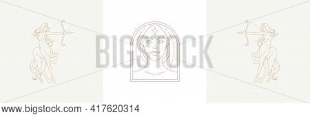 Magic Woman Head And Female Sagittarius In Boho Linear Style Vector Illustrations Set.