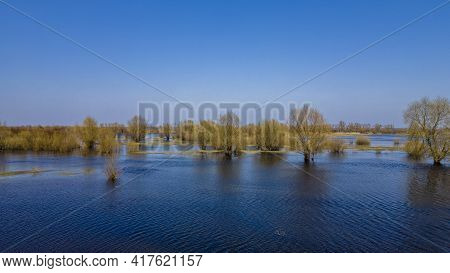 Aerial View Of River Flood. Beautiful Flooded Meadow. Flying Above Beautiful Pripyat River When The