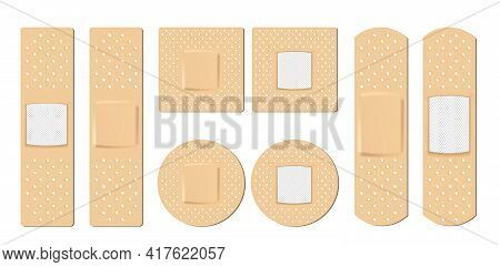 Collection Of Adhesive Bandages, Plasters Or Patches Isolated On White Background. Realistic Adhesiv