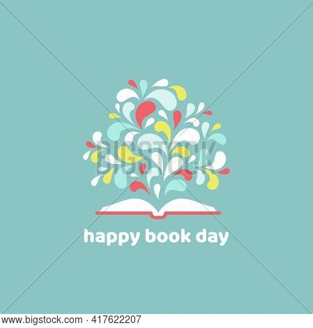 World Book Day Card. Open Book With Red Book Cover And Paint Drops Flying Out. Isolated On Powder Bl