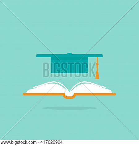 Book With Graduation Cap Or Mortar Board. Isolated On Powder Blue Background. Flat Reading Icon. Vec