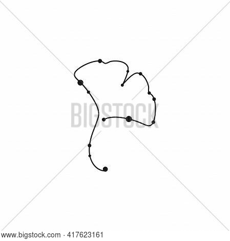 Ginkgo Biloba Leaf Isolated On White. Star Constellation Style. Nature Eco Icon. Vector Illustration