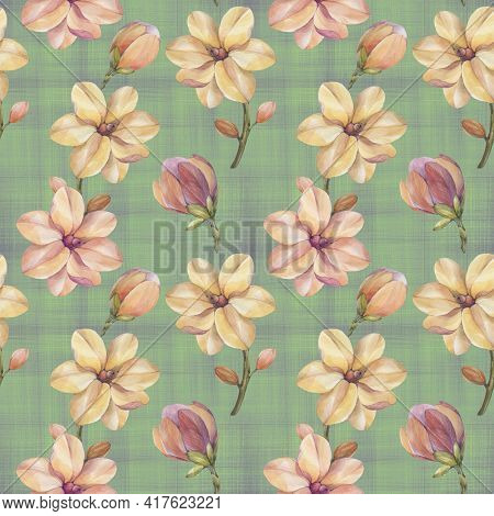 Magnolia Seamless Botanical Pattern. Watercolor Botanical Ornament. Pink Flowers On An Abstract Gree