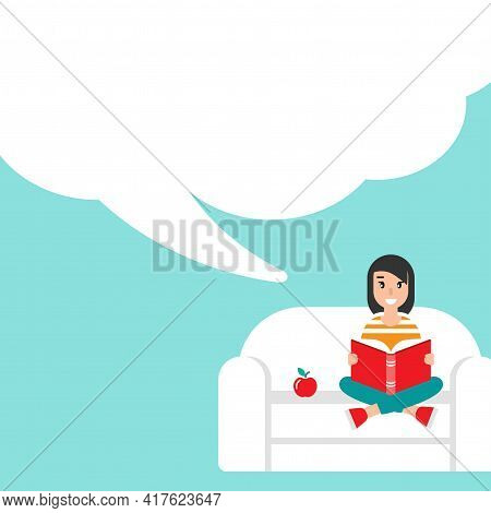 Cute Girl With Red Book Siting On Sofa With Apple And Big Speech Bubble. Creative Student. Study Or