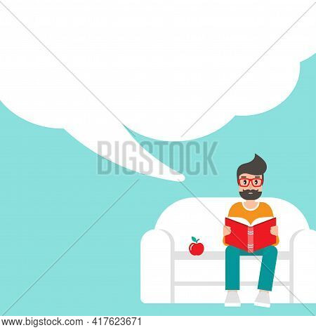 Man With Red Book Siting On Sofa With Apple And Big Speech Bubble. Creative Student. Study Or Educat