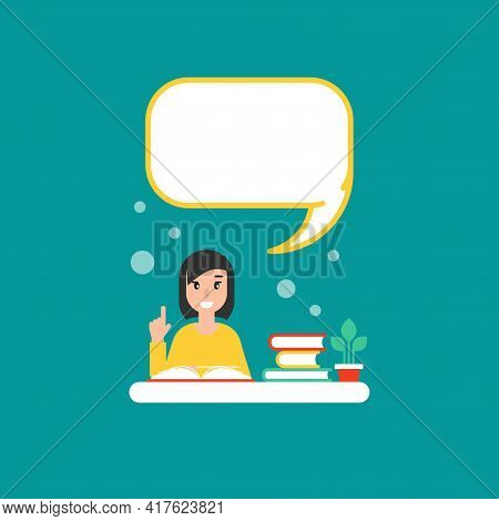 Happy Girl With Books And Speech Bubble. Creative Teacher. Giving Advice . Flat Vector Illustration