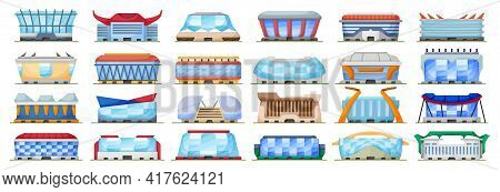 Sport Arena Vector Illustration On White Background. Isolated Cartoon Set Icon Stadium. Vector Carto