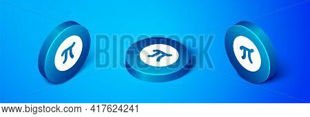 Isometric Pi Symbol Icon Isolated On Blue Background. Blue Circle Button. Vector