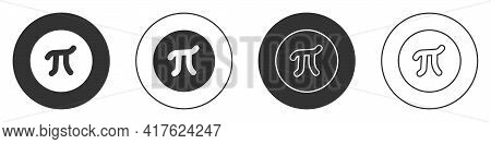 Black Pi Symbol Icon Isolated On White Background. Circle Button. Vector