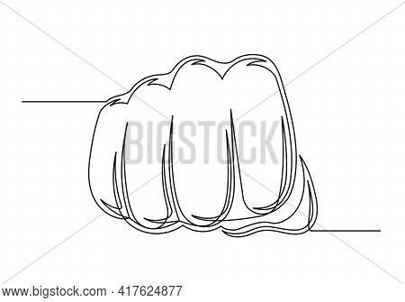 Continuous One Line Drawing Of An Vintage Fist. Big Fist Isolated On A White Background. Vector Illu