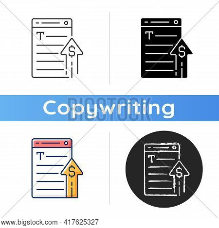 Generating Income Icon. Revenue From Copywriting Services. Freelance Work Cost, Earn Money. Professi