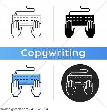 Keyboard Icon. Professional Freelance Worker. Copywriter Work. Enter Information With Keypad. Journa