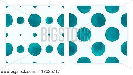 Fashion Watercolor Polka. Seamless Circle Textile. Blue Paint Brush Wallpaper. Watercolor Polka Tile