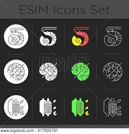 Reason For Allergy Dark Theme Icons Set. Crustaceans And Molluscs. Sesame Seeds. Food Intolerance. C