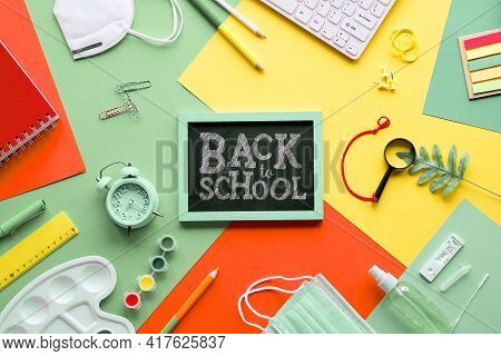 Back To School, School Reopening After Corona Pandemics Quarantine. Covid Antigen Quick Tests, Medic