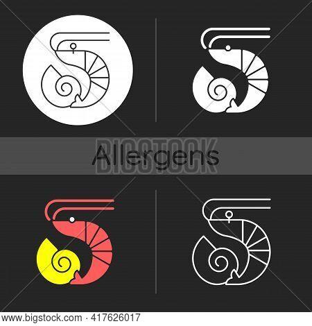 Crustaceans And Molluscs Dark Theme Icon. Fresh Food. Intolerance For Prawn. Common Allergen. Allerg