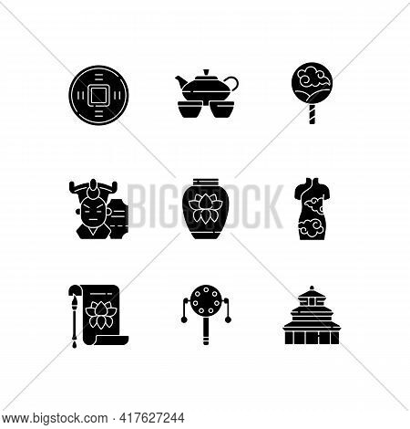 Chinese Traditions Black Glyph Icons Set On White Space. Ancient Coin. Tea Ceremony. Paper Fan. Cant